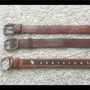 Abercrombie & Fitch Belts Lot 3 Brown Leather
